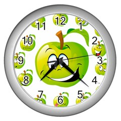 Apple Green Fruit Emoji Face Smile Fres Red Cute Wall Clocks (silver)