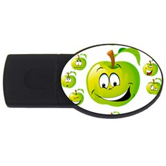 Apple Green Fruit Emoji Face Smile Fres Red Cute Usb Flash Drive Oval (2 Gb) by Alisyart