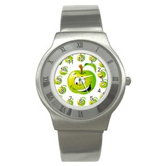 Apple Green Fruit Emoji Face Smile Fres Red Cute Stainless Steel Watch
