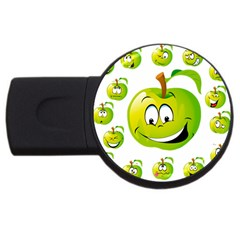 Apple Green Fruit Emoji Face Smile Fres Red Cute Usb Flash Drive Round (4 Gb) by Alisyart