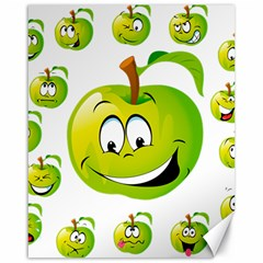 Apple Green Fruit Emoji Face Smile Fres Red Cute Canvas 16  X 20   by Alisyart