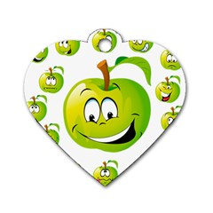 Apple Green Fruit Emoji Face Smile Fres Red Cute Dog Tag Heart (one Side)
