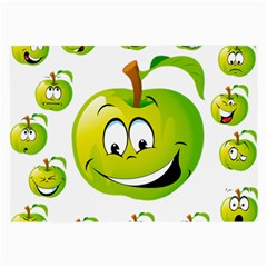 Apple Green Fruit Emoji Face Smile Fres Red Cute Large Glasses Cloth (2 Side) by Alisyart