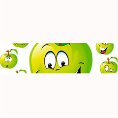 Apple Green Fruit Emoji Face Smile Fres Red Cute Large Bar Mats by Alisyart