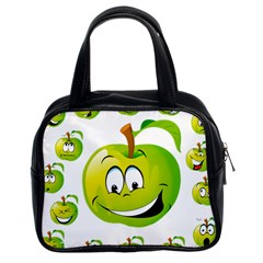 Apple Green Fruit Emoji Face Smile Fres Red Cute Classic Handbags (2 Sides)