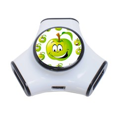 Apple Green Fruit Emoji Face Smile Fres Red Cute 3 Port Usb Hub by Alisyart