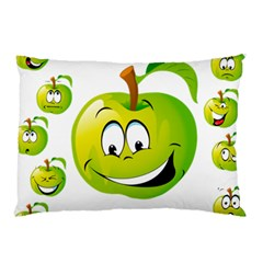 Apple Green Fruit Emoji Face Smile Fres Red Cute Pillow Case (two Sides) by Alisyart