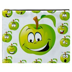 Apple Green Fruit Emoji Face Smile Fres Red Cute Cosmetic Bag (xxxl)