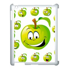 Apple Green Fruit Emoji Face Smile Fres Red Cute Apple Ipad 3/4 Case (white)