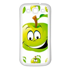 Apple Green Fruit Emoji Face Smile Fres Red Cute Samsung Galaxy S3 Back Case (white)