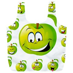 Apple Green Fruit Emoji Face Smile Fres Red Cute Full Print Recycle Bags (l)  by Alisyart