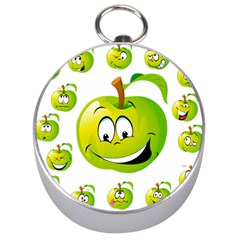 Apple Green Fruit Emoji Face Smile Fres Red Cute Silver Compasses by Alisyart