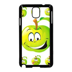 Apple Green Fruit Emoji Face Smile Fres Red Cute Samsung Galaxy Note 3 Neo Hardshell Case (black)