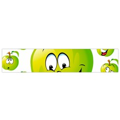 Apple Green Fruit Emoji Face Smile Fres Red Cute Flano Scarf (small)