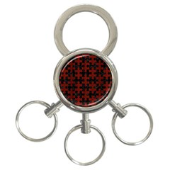 Puzzle1 Black Marble & Red Wood 3 Ring Key Chains by trendistuff