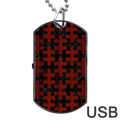 Puzzle1 Black Marble & Red Wood Dog Tag Usb Flash (one Side) by trendistuff