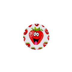 Strawberry Fruit Emoji Face Smile Fres Red Cute 1  Mini Buttons