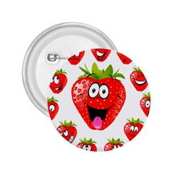 Strawberry Fruit Emoji Face Smile Fres Red Cute 2 25  Buttons