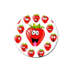 Strawberry Fruit Emoji Face Smile Fres Red Cute Magnet 3  (round) by Alisyart
