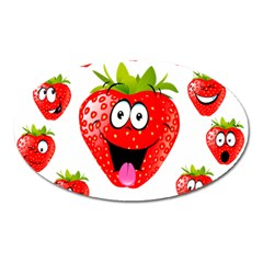 Strawberry Fruit Emoji Face Smile Fres Red Cute Oval Magnet by Alisyart