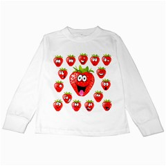 Strawberry Fruit Emoji Face Smile Fres Red Cute Kids Long Sleeve T Shirts
