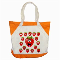 Strawberry Fruit Emoji Face Smile Fres Red Cute Accent Tote Bag by Alisyart