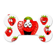 Strawberry Fruit Emoji Face Smile Fres Red Cute Dog Tag Bone (two Sides) by Alisyart