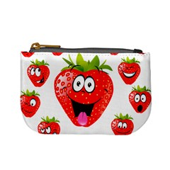 Strawberry Fruit Emoji Face Smile Fres Red Cute Mini Coin Purses