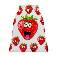 Strawberry Fruit Emoji Face Smile Fres Red Cute Ornament (bell) by Alisyart
