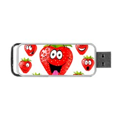 Strawberry Fruit Emoji Face Smile Fres Red Cute Portable Usb Flash (two Sides) by Alisyart