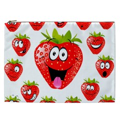 Strawberry Fruit Emoji Face Smile Fres Red Cute Cosmetic Bag (xxl)  by Alisyart