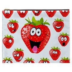 Strawberry Fruit Emoji Face Smile Fres Red Cute Cosmetic Bag (xxxl)