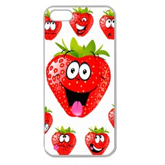 Strawberry Fruit Emoji Face Smile Fres Red Cute Apple Seamless Iphone 5 Case (clear) by Alisyart
