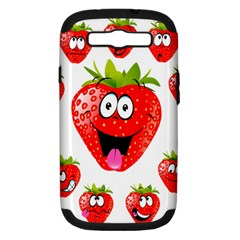 Strawberry Fruit Emoji Face Smile Fres Red Cute Samsung Galaxy S Iii Hardshell Case (pc+silicone)