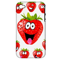 Strawberry Fruit Emoji Face Smile Fres Red Cute Apple Iphone 4/4s Hardshell Case (pc+silicone) by Alisyart