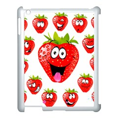 Strawberry Fruit Emoji Face Smile Fres Red Cute Apple Ipad 3/4 Case (white)