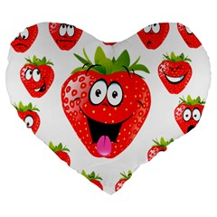 Strawberry Fruit Emoji Face Smile Fres Red Cute Large 19  Premium Heart Shape Cushions by Alisyart