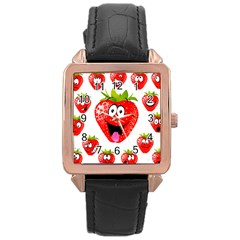 Strawberry Fruit Emoji Face Smile Fres Red Cute Rose Gold Leather Watch