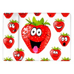 Strawberry Fruit Emoji Face Smile Fres Red Cute Samsung Galaxy Tab 10 1  P7500 Flip Case