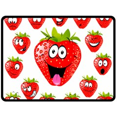 Strawberry Fruit Emoji Face Smile Fres Red Cute Double Sided Fleece Blanket (large)