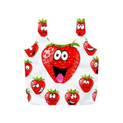 Strawberry Fruit Emoji Face Smile Fres Red Cute Full Print Recycle Bags (s)  by Alisyart