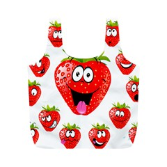 Strawberry Fruit Emoji Face Smile Fres Red Cute Full Print Recycle Bags (m)  by Alisyart