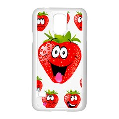 Strawberry Fruit Emoji Face Smile Fres Red Cute Samsung Galaxy S5 Case (white)