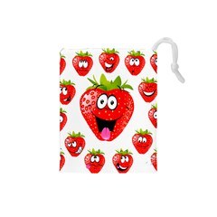 Strawberry Fruit Emoji Face Smile Fres Red Cute Drawstring Pouches (small)