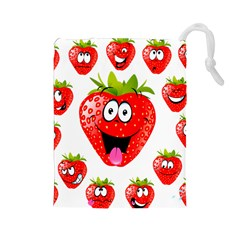 Strawberry Fruit Emoji Face Smile Fres Red Cute Drawstring Pouches (large)  by Alisyart
