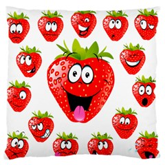 Strawberry Fruit Emoji Face Smile Fres Red Cute Large Flano Cushion Case (one Side) by Alisyart