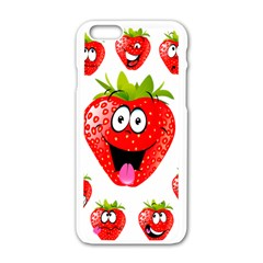 Strawberry Fruit Emoji Face Smile Fres Red Cute Apple Iphone 6/6s White Enamel Case by Alisyart