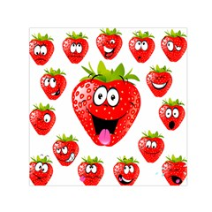 Strawberry Fruit Emoji Face Smile Fres Red Cute Small Satin Scarf (square) by Alisyart