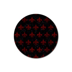Royal1 Black Marble & Red Wood Rubber Coaster (round)  by trendistuff