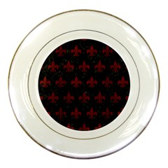 Royal1 Black Marble & Red Wood Porcelain Plates by trendistuff